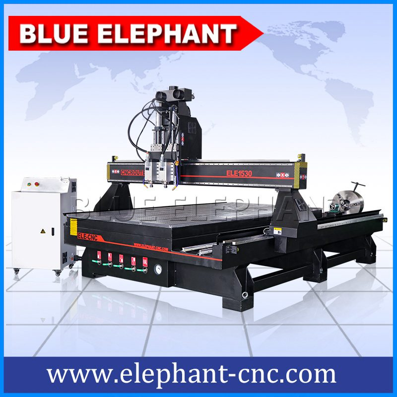 1530 pneumatic system double spindles 4 axis cnc router -2