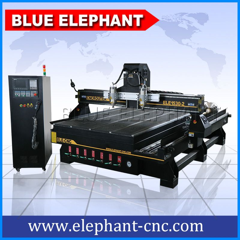 1530-2 one head with double spindles cnc router with rotary device -1