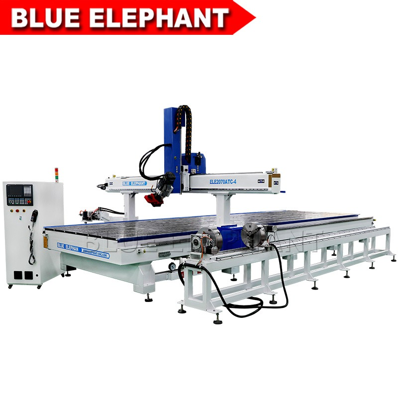 2070 Atc 4 Axis Cnc Router Woodworking Machinery Blue